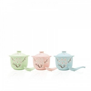 Mei Blossom Ceramic Soup Bowl Set (with spoon)