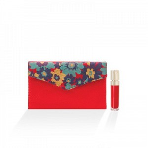 Floral Embroidery Silk Satin Envelope Clutch