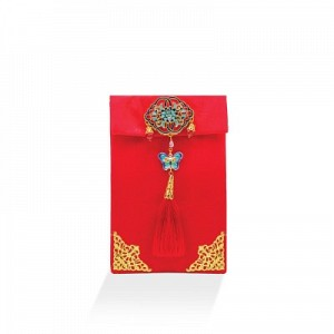 Embroidery Silk Satin Red Envelope Pouch