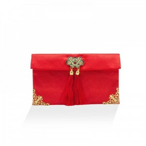 Chinese Traditional Embroidery Silk Satin Red Envelope Pouch